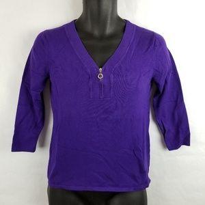 Cable Gauge Quarter Zip Long Half Sleeve Shirt Top